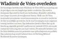 20010802 NRC.nl - Wladimir de Vries overleden